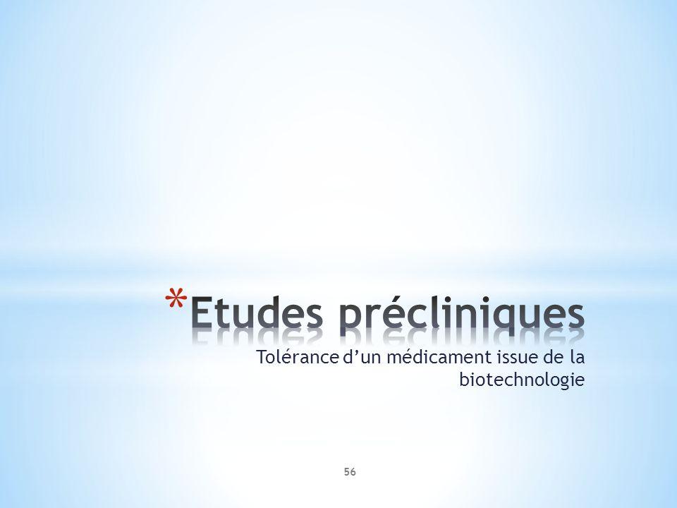 Tolérance dun médicament issue de la biotechnologie 56
