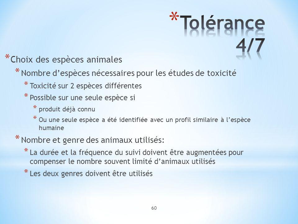 * Choix des espèces animales * Nombre despèces nécessaires pour les études de toxicité * Toxicité sur 2 espèces différentes * Possible sur une seule e