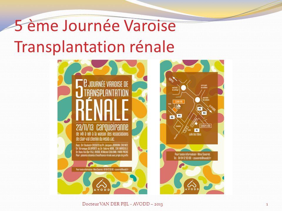EGR voir site RENALOO 70000 patients dialysés/greffés en France 76% greffés vie normale vs 38% des patients dialysés Pas dimpact de la maladie pour 67 % des greffés contre OUI pour 47% des dialysés En PACA répartition greffe-dialyse très défavorable Projet dans 7 ans taux de transplantés de 45% à 55% Maximum 35% des patients (greffés/dialysés) estiment avoir été bien informé concernant greffe donneur vivant et 26% pour la greffe préemptive Docteur VAN DER PIJL - AVODD – 20132