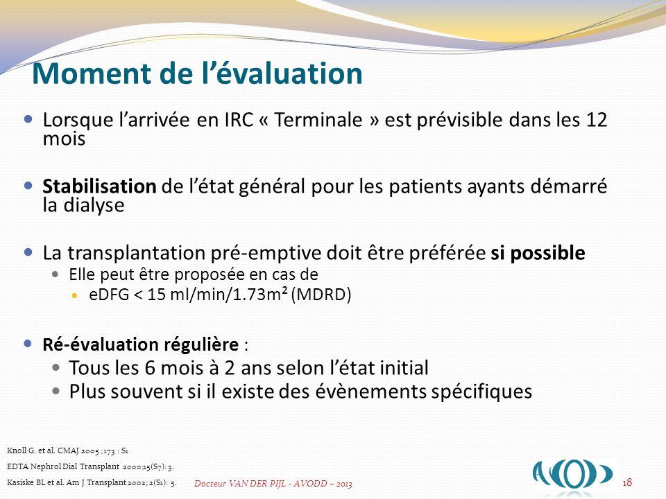 Age du receveur Il convient de prendre en compte : Lespérance de vie évaluée du patient Lévaluation de létat cognitif et des fonctions supérieures 19 Knoll G.