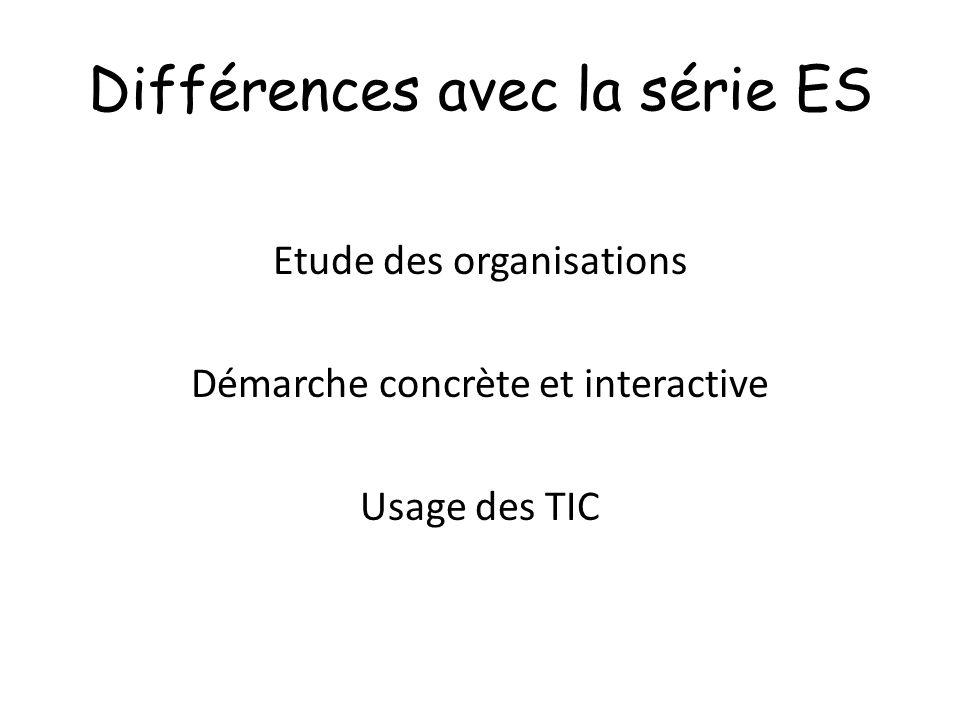 Différences avec la série ES Etude des organisations Démarche concrète et interactive Usage des TIC