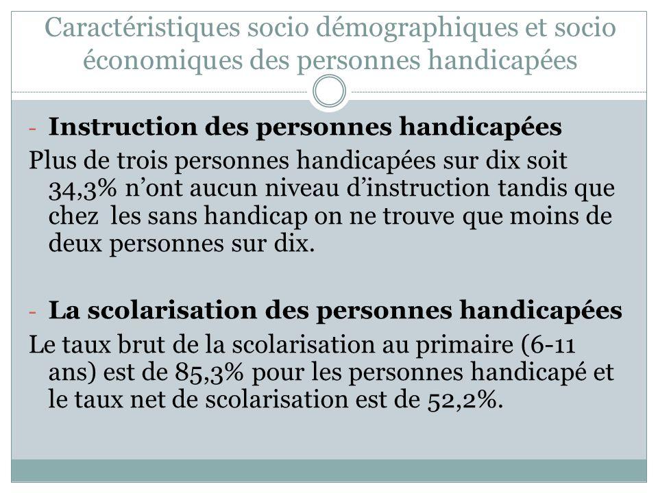 Caractéristiques socio démographiques et socio économiques des personnes handicapées - Instruction des personnes handicapées Plus de trois personnes h