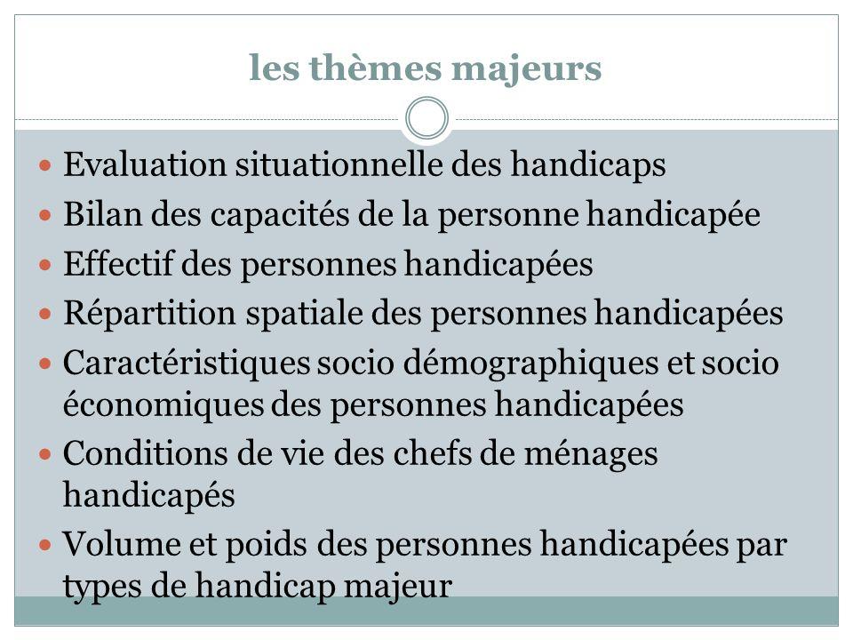 les thèmes majeurs Evaluation situationnelle des handicaps Bilan des capacités de la personne handicapée Effectif des personnes handicapées Répartitio