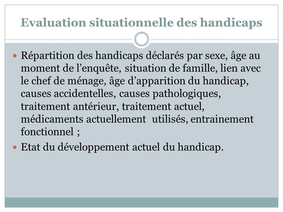 Evaluation situationnelle des handicaps Répartition des handicaps déclarés par sexe, âge au moment de lenquête, situation de famille, lien avec le che