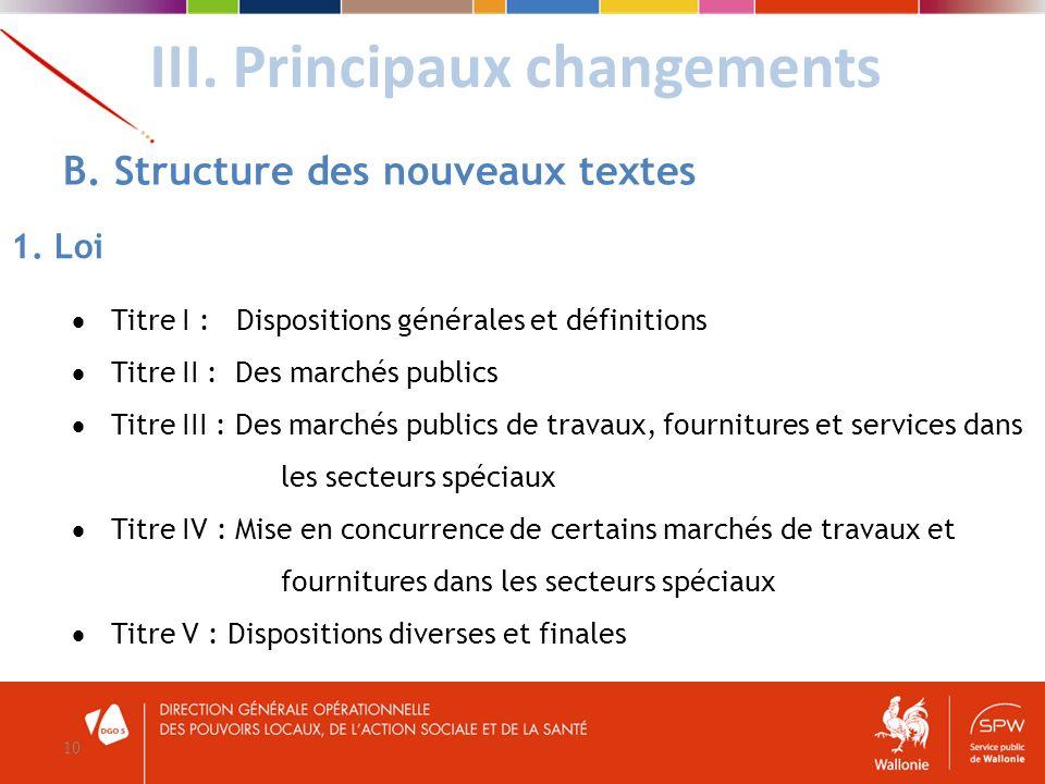 III. Principaux changements 10 B. Structure des nouveaux textes 1. Loi Titre I : Dispositions générales et définitions Titre II : Des marchés publics