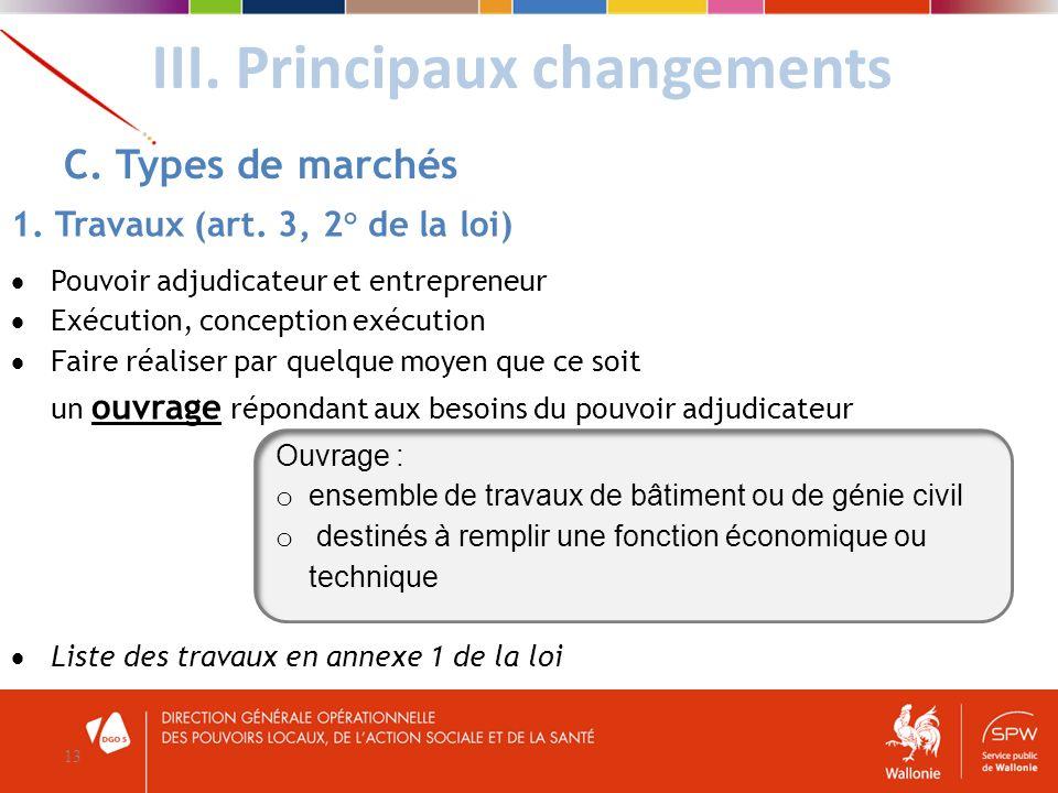 III. Principaux changements 13 C. Types de marchés 1. Travaux (art. 3, 2° de la loi) Pouvoir adjudicateur et entrepreneur Exécution, conception exécut