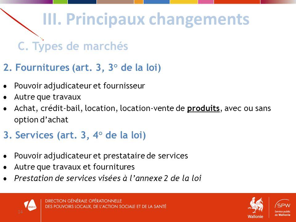 III. Principaux changements 14 C. Types de marchés 2. Fournitures (art. 3, 3° de la loi) Pouvoir adjudicateur et fournisseur Autre que travaux Achat,