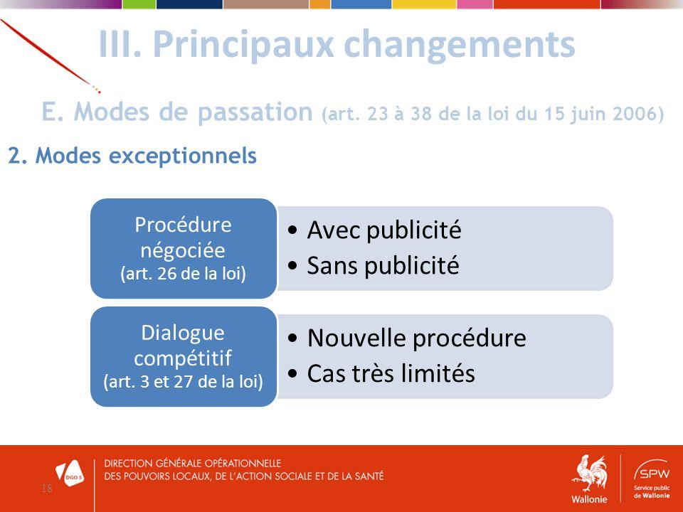 III. Principaux changements 18 E. Modes de passation (art. 23 à 38 de la loi du 15 juin 2006) 2. Modes exceptionnels Avec publicité Sans publicité Pro