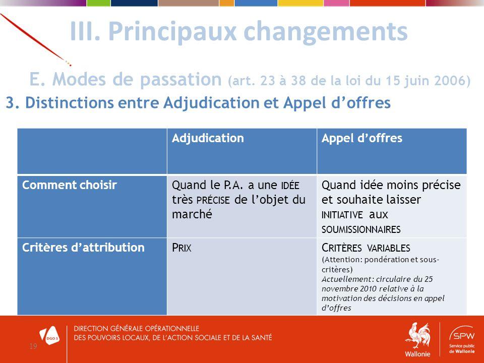 III. Principaux changements 19 E. Modes de passation (art. 23 à 38 de la loi du 15 juin 2006) 3. Distinctions entre Adjudication et Appel doffres Adju