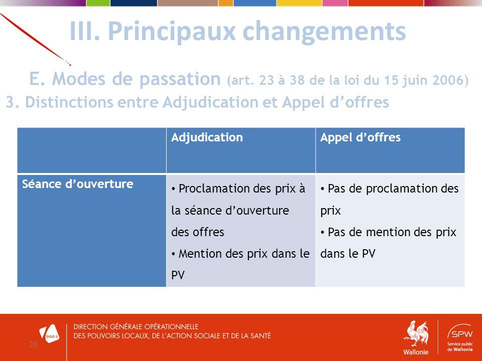III. Principaux changements 20 E. Modes de passation (art. 23 à 38 de la loi du 15 juin 2006) 3. Distinctions entre Adjudication et Appel doffres Adju