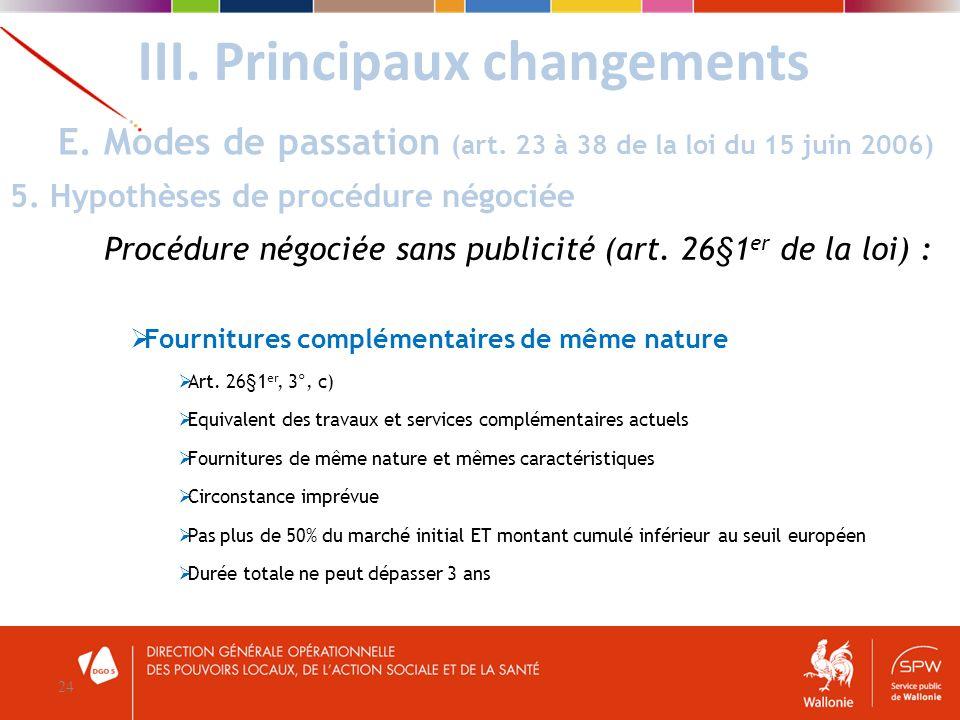 III. Principaux changements 24 E. Modes de passation (art. 23 à 38 de la loi du 15 juin 2006) 5. Hypothèses de procédure négociée Procédure négociée s