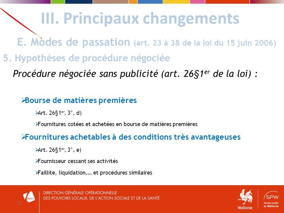III. Principaux changements 25 E. Modes de passation (art. 23 à 38 de la loi du 15 juin 2006) 5. Hypothèses de procédure négociée Procédure négociée s