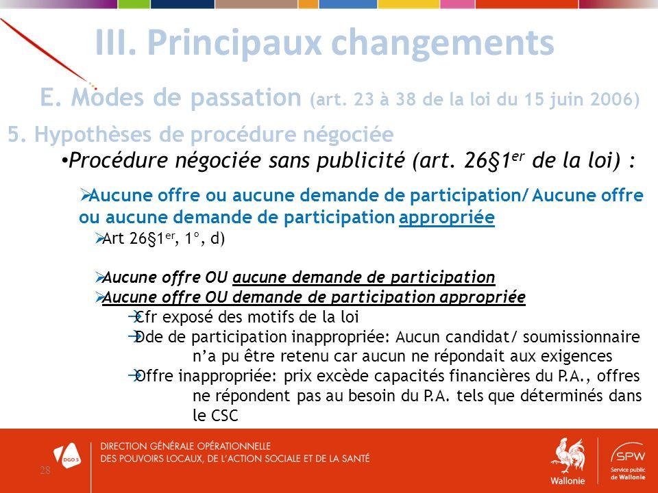 III. Principaux changements 28 E. Modes de passation (art. 23 à 38 de la loi du 15 juin 2006) 5. Hypothèses de procédure négociée Procédure négociée s