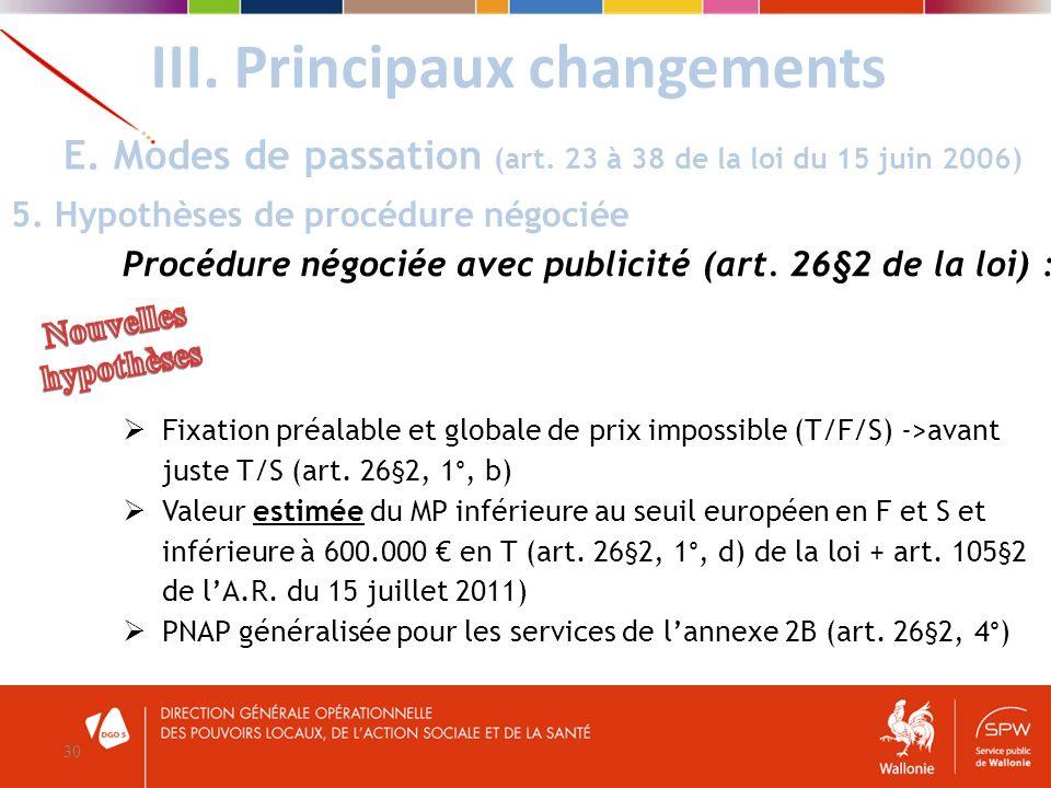 III. Principaux changements 30 E. Modes de passation (art. 23 à 38 de la loi du 15 juin 2006) 5. Hypothèses de procédure négociée Procédure négociée a
