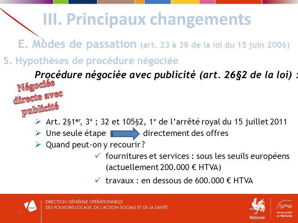 III. Principaux changements 31 E. Modes de passation (art. 23 à 38 de la loi du 15 juin 2006) 5. Hypothèses de procédure négociée Procédure négociée a