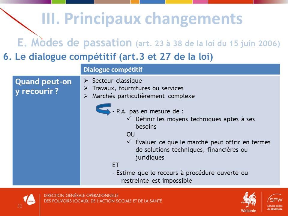 III. Principaux changements 32 E. Modes de passation (art. 23 à 38 de la loi du 15 juin 2006) 6. Le dialogue compétitif (art.3 et 27 de la loi) Dialog