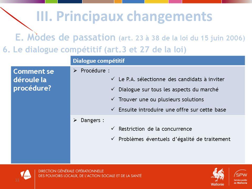 III. Principaux changements 33 E. Modes de passation (art. 23 à 38 de la loi du 15 juin 2006) 6. Le dialogue compétitif (art.3 et 27 de la loi) Dialog