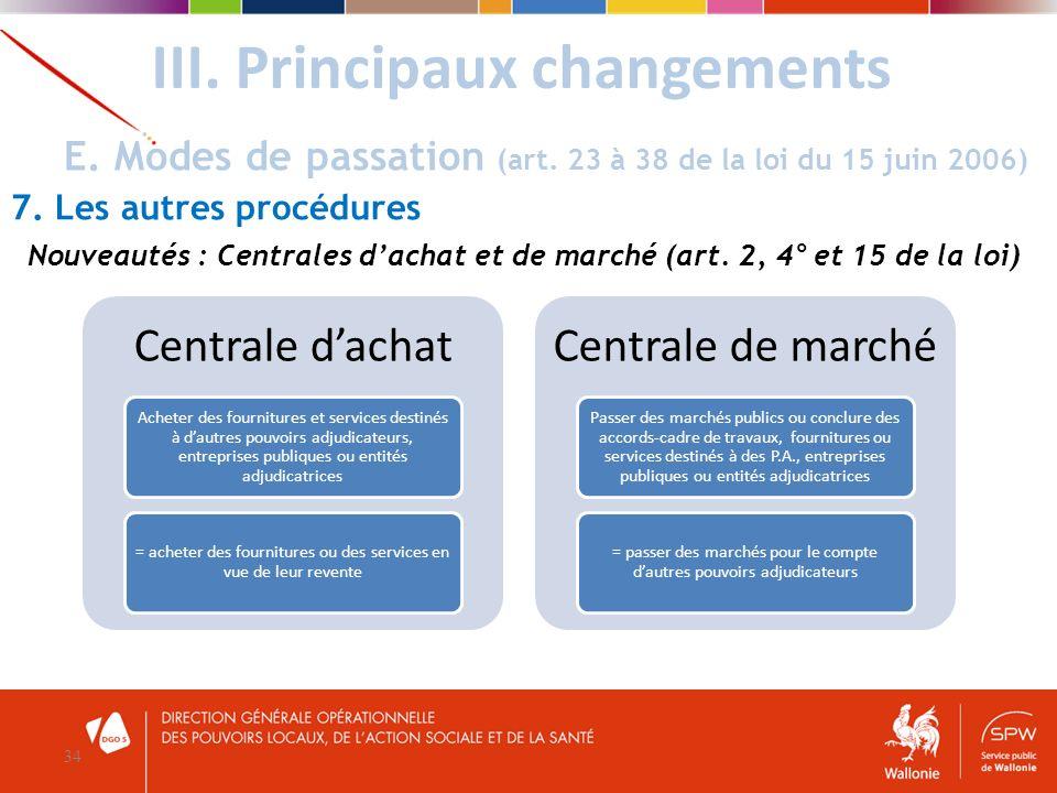 III. Principaux changements 34 E. Modes de passation (art. 23 à 38 de la loi du 15 juin 2006) 7. Les autres procédures Centrale dachat Acheter des fou