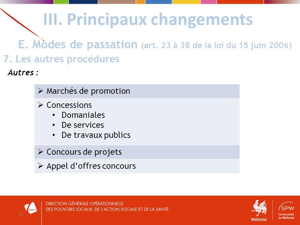 III. Principaux changements 38 E. Modes de passation (art. 23 à 38 de la loi du 15 juin 2006) 7. Les autres procédures Autres : Marchés de promotion C