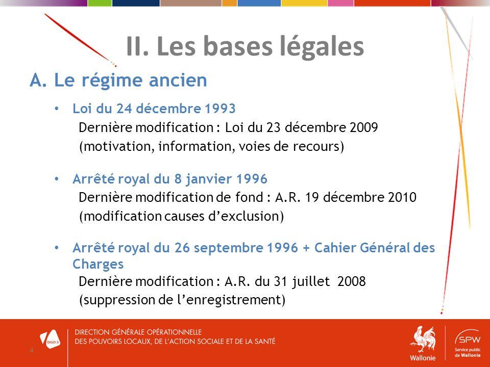 II. Les bases légales 4 A. Le régime ancien Loi du 24 décembre 1993 Dernière modification : Loi du 23 décembre 2009 (motivation, information, voies de