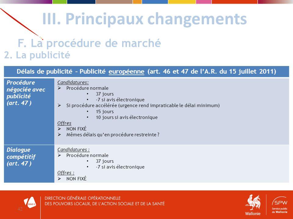 III. Principaux changements 42 F. La procédure de marché 2. La publicité Délais de publicité – Publicité européenne (art. 46 et 47 de lA.R. du 15 juil