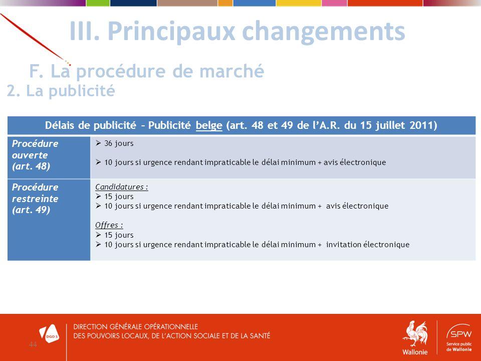 III. Principaux changements 44 F. La procédure de marché 2. La publicité Délais de publicité – Publicité belge (art. 48 et 49 de lA.R. du 15 juillet 2