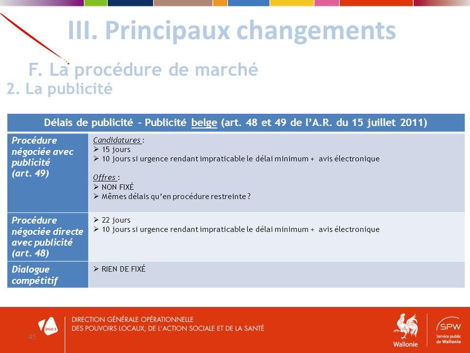 III. Principaux changements 45 F. La procédure de marché 2. La publicité Délais de publicité – Publicité belge (art. 48 et 49 de lA.R. du 15 juillet 2