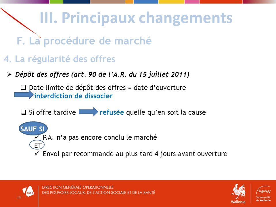Dépôt des offres (art. 90 de lA.R. du 15 juillet 2011) Date limite de dépôt des offres = date douverture interdiction de dissocier Si offre tardive re