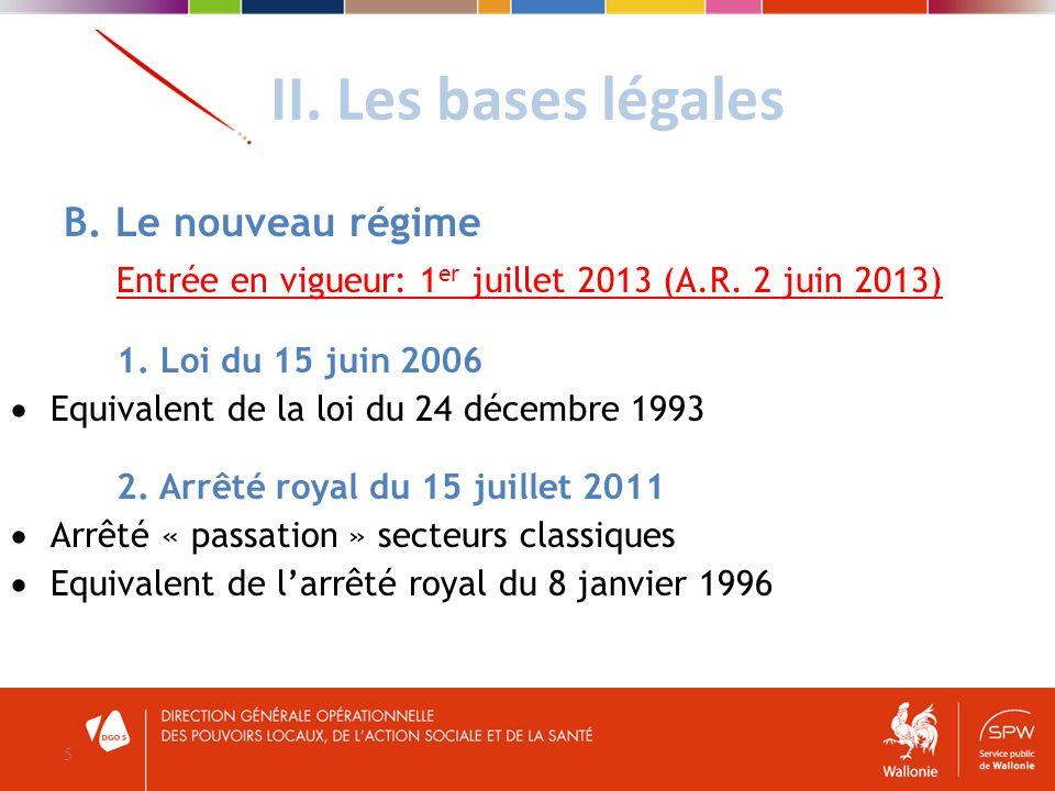 II. Les bases légales 5 B. Le nouveau régime Entrée en vigueur: 1 er juillet 2013 (A.R. 2 juin 2013) 1. Loi du 15 juin 2006 Equivalent de la loi du 24