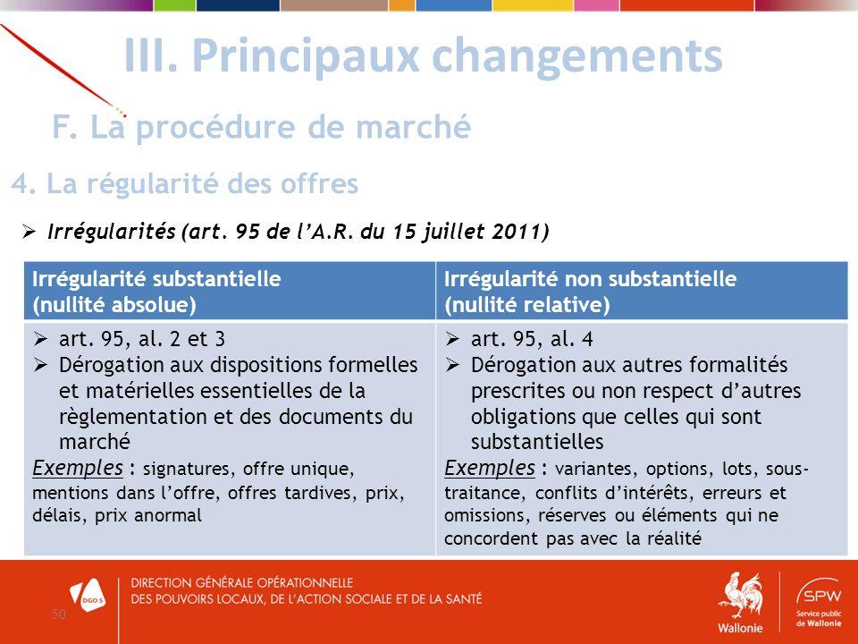 Irrégularités (art. 95 de lA.R. du 15 juillet 2011) III. Principaux changements 50 F. La procédure de marché 4. La régularité des offres Irrégularité