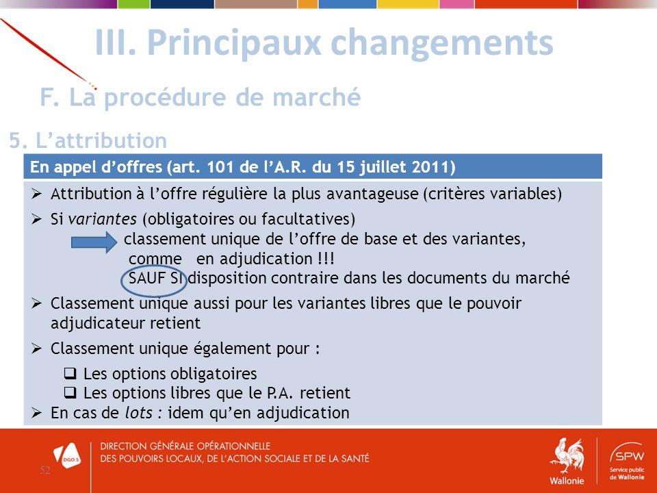 III. Principaux changements 52 F. La procédure de marché 5. Lattribution En appel doffres (art. 101 de lA.R. du 15 juillet 2011) Attribution à loffre