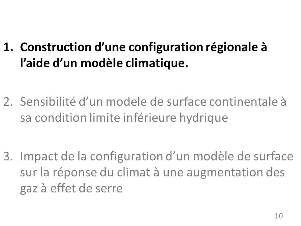 1.Construction dune configuration régionale à laide dun modèle climatique. 2.Sensibilité dun modele de surface continentale à sa condition limite infé