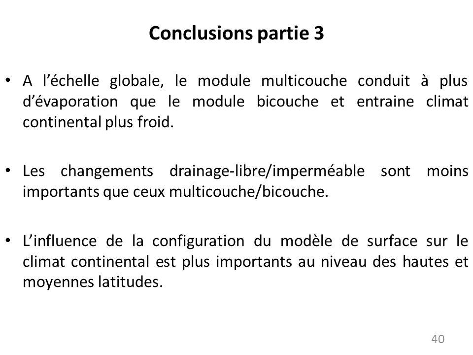 Conclusions partie 3 A léchelle globale, le module multicouche conduit à plus dévaporation que le module bicouche et entraine climat continental plus