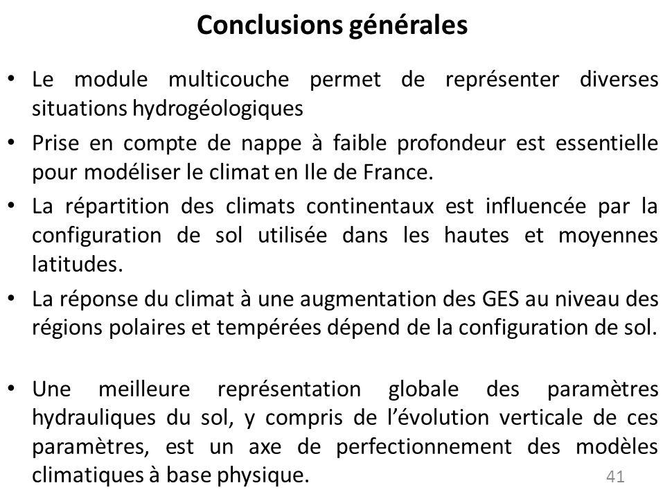 Conclusions générales Le module multicouche permet de représenter diverses situations hydrogéologiques Prise en compte de nappe à faible profondeur es
