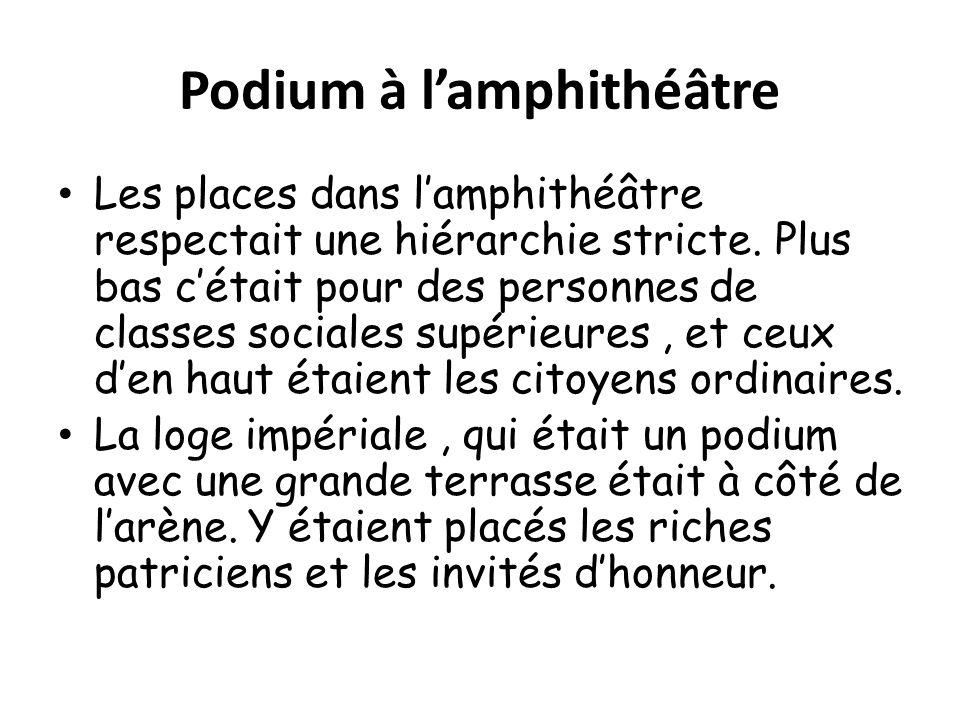 Podium à lamphithéâtre Les places dans lamphithéâtre respectait une hiérarchie stricte.