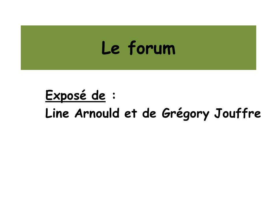 Le forum Exposé de : Line Arnould et de Grégory Jouffre