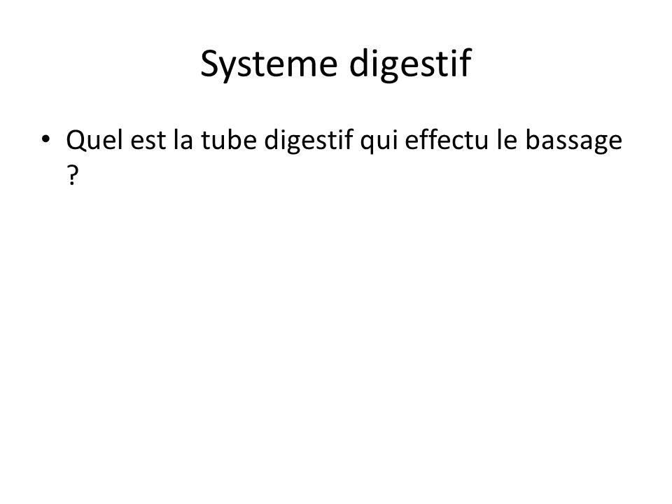 Systeme digestif Quel est la tube digestif qui effectu le bassage ?