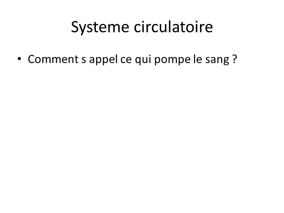 Systeme circulatoire Comment s appel ce qui pompe le sang ?