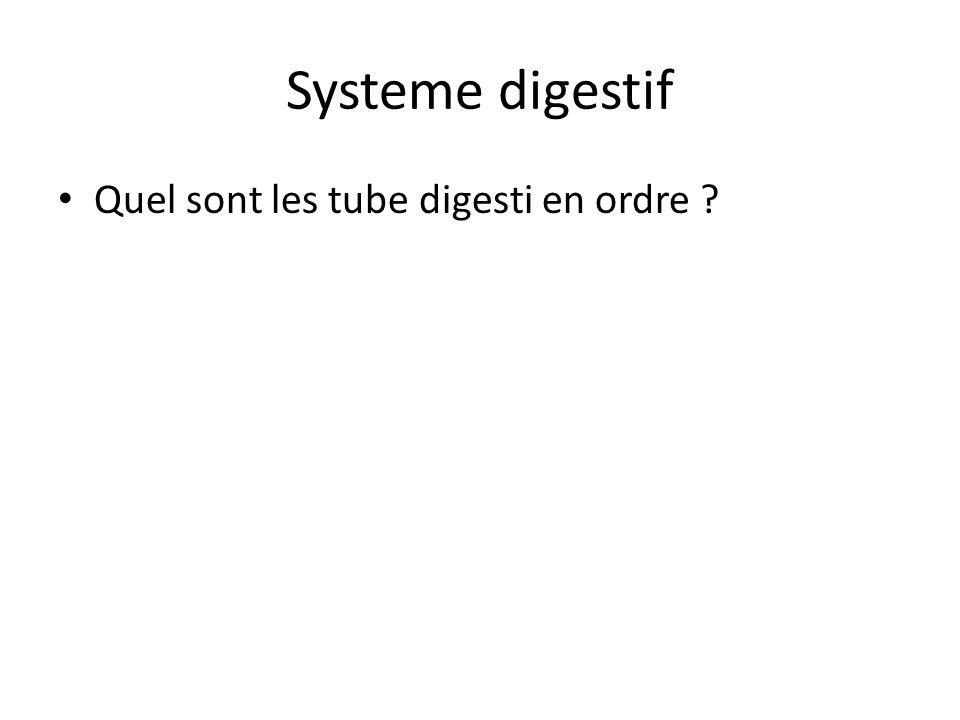 Systeme digestif Quel sont les tube digesti en ordre ?