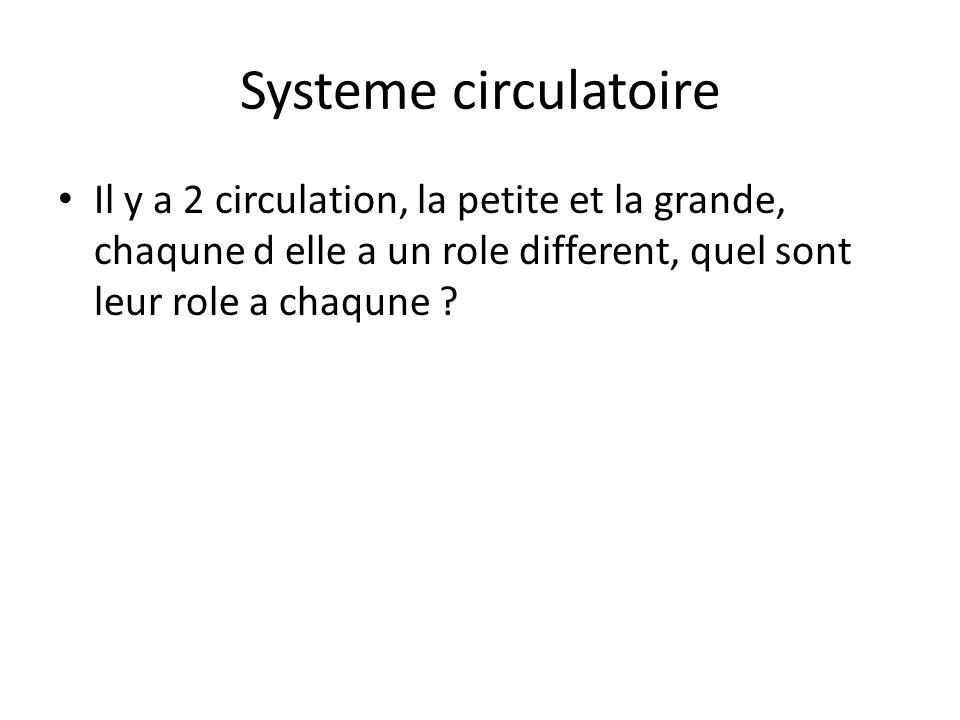 Systeme circulatoire Il y a 2 circulation, la petite et la grande, chaqune d elle a un role different, quel sont leur role a chaqune ?