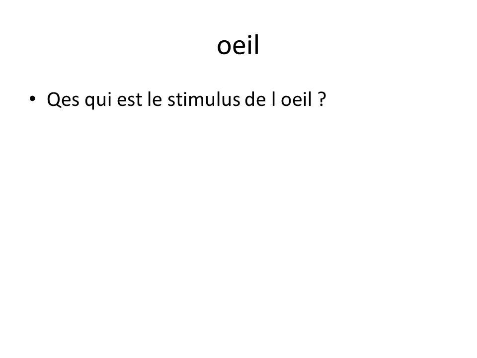 oeil Qes qui est le stimulus de l oeil ?