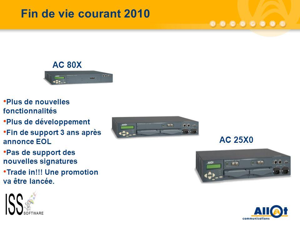 Fin de vie courant 2010 AC 80X AC 25X0 Plus de nouvelles fonctionnalités Plus de développement Fin de support 3 ans après annonce EOL Pas de support d