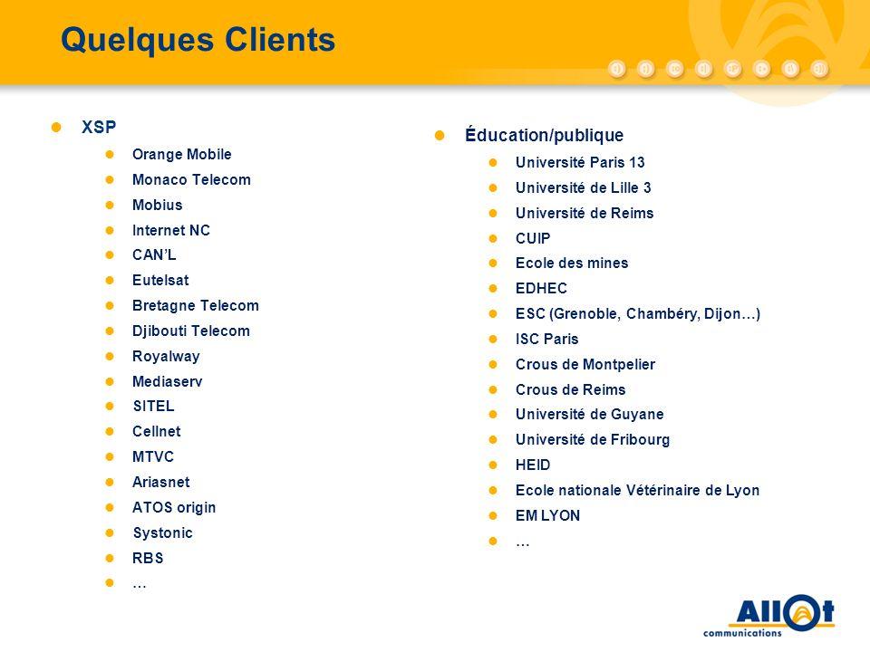 Quelques Clients XSP Orange Mobile Monaco Telecom Mobius Internet NC CANL Eutelsat Bretagne Telecom Djibouti Telecom Royalway Mediaserv SITEL Cellnet