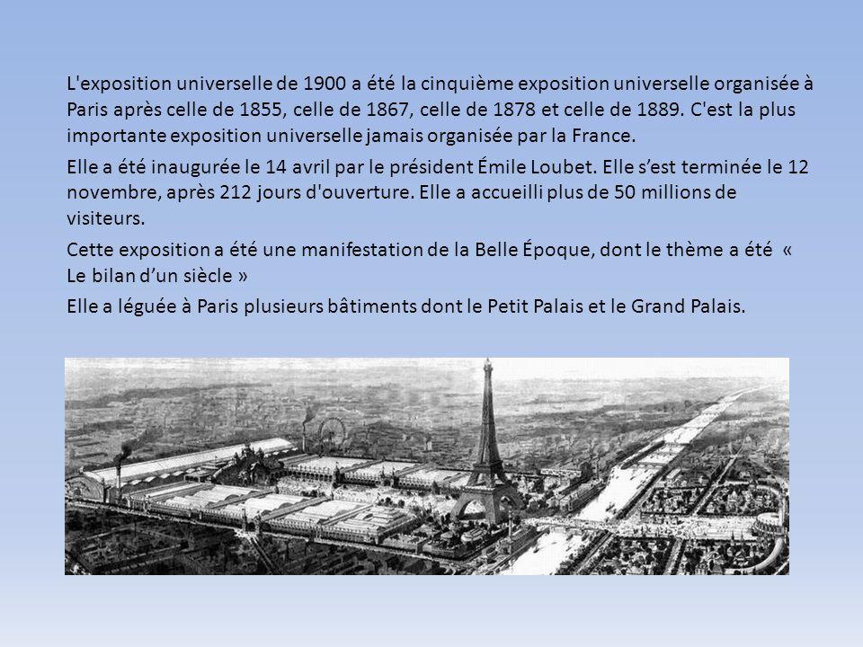 L'exposition universelle de 1900 a été la cinquième exposition universelle organisée à Paris après celle de 1855, celle de 1867, celle de 1878 et cell