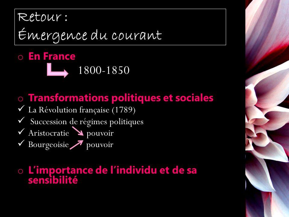 o En France 1800-1850 o Transformations politiques et sociales La Révolution française (1789) Succession de régimes politiques Aristocratie pouvoir Bourgeoisie pouvoir o Limportance de lindividu et de sa sensibilité