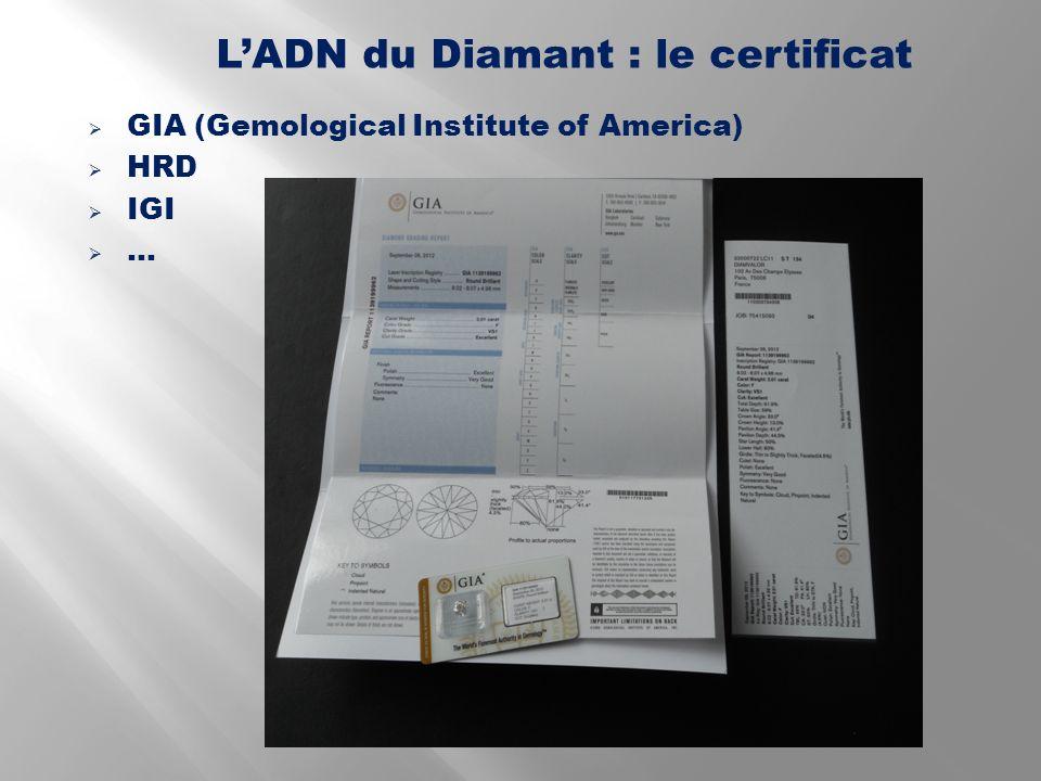 GIA (Gemological Institute of America) HRD IGI … LADN du Diamant : le certificat