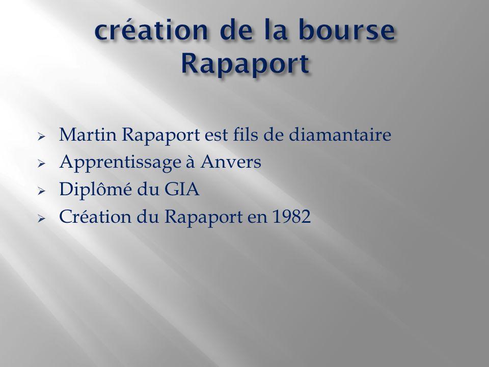 Martin Rapaport est fils de diamantaire Apprentissage à Anvers Diplômé du GIA Création du Rapaport en 1982