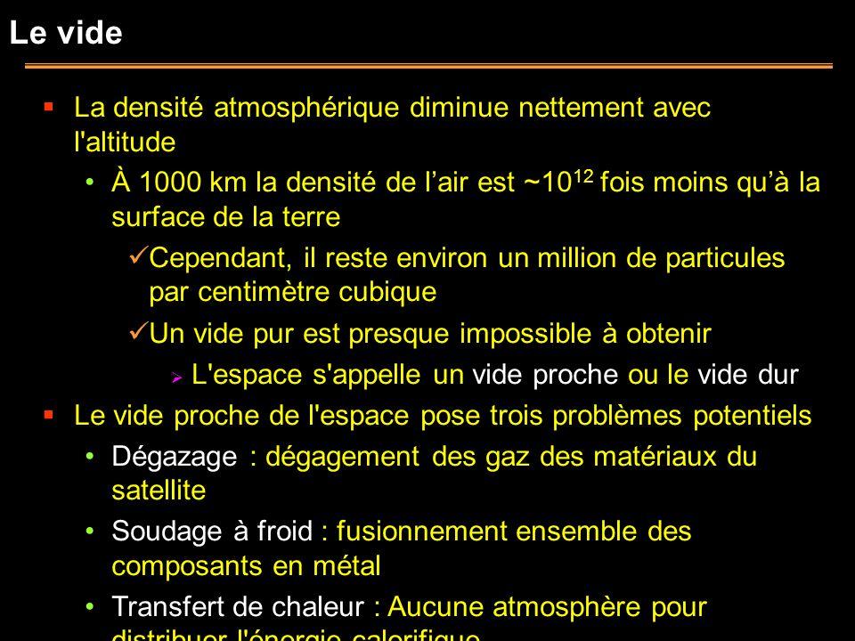 Le vide La densité atmosphérique diminue nettement avec l'altitude À 1000 km la densité de lair est ~10 12 fois moins quà la surface de la terre Cepen