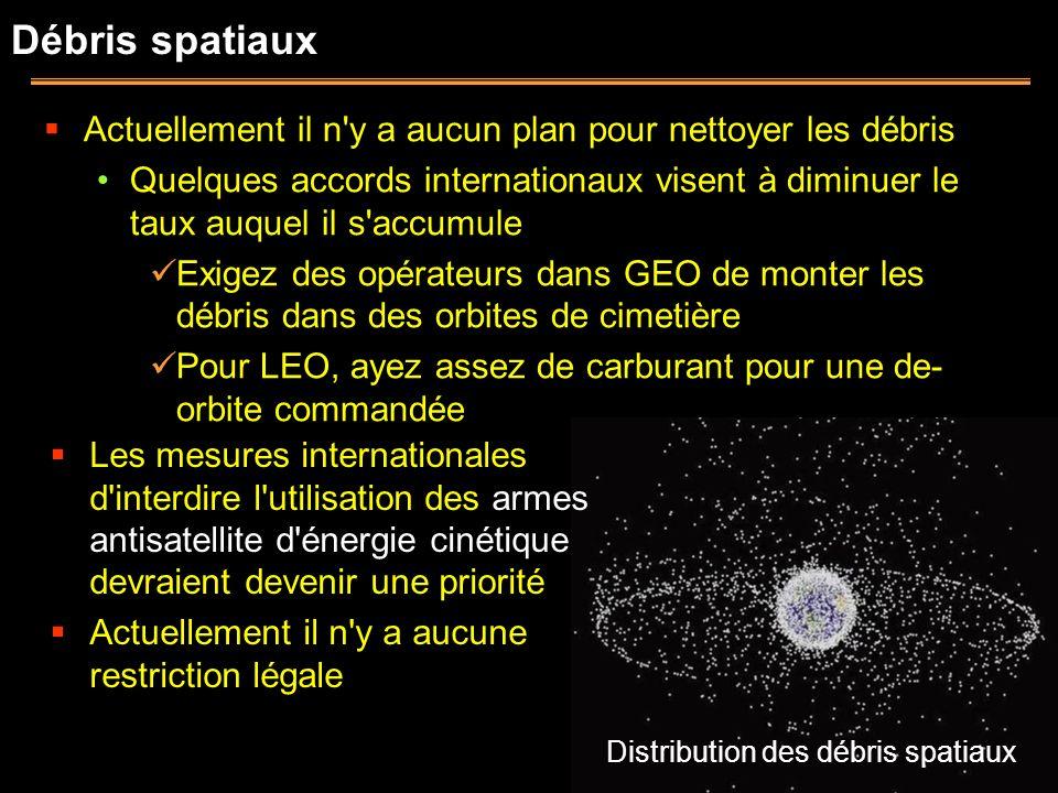 Débris spatiaux Actuellement il n'y a aucun plan pour nettoyer les débris Quelques accords internationaux visent à diminuer le taux auquel il s'accumu