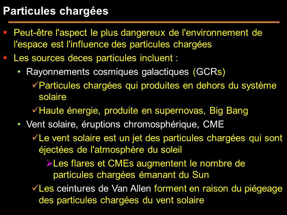 Particules chargées Peut-être l'aspect le plus dangereux de l'environnement de l'espace est l'influence des particules chargées Les sources deces part